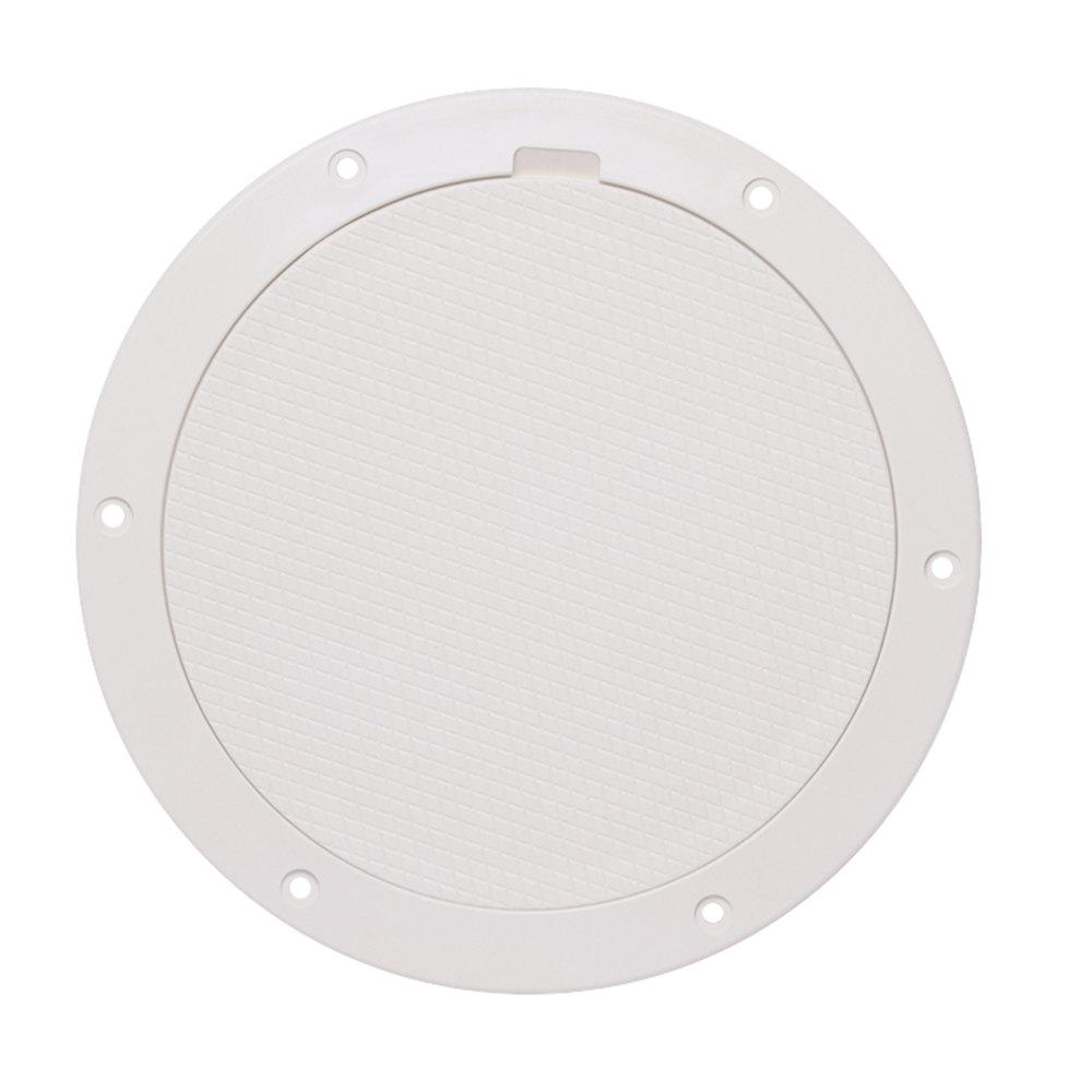 Beckson 8 in. Pry-Out Deck Plate with Diamond Center in White