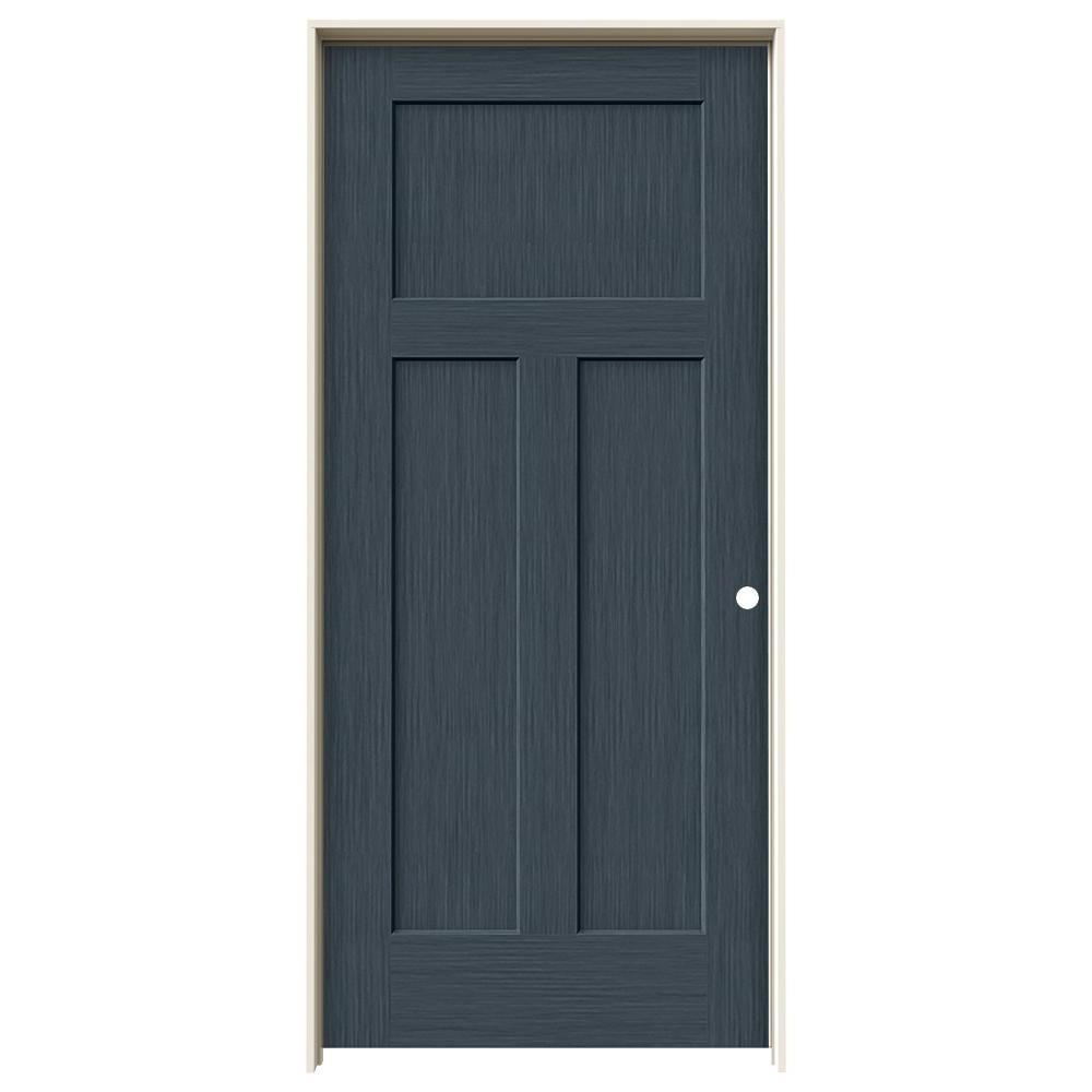 36 in. x 80 in. Craftsman Denim Stain Left-Hand Solid Core Molded Composite MDF Single Prehung Interior Door