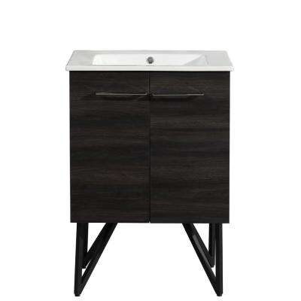 Annecy 24 in. Single, 2-Door, Bathroom Vanity in Black with White Basin