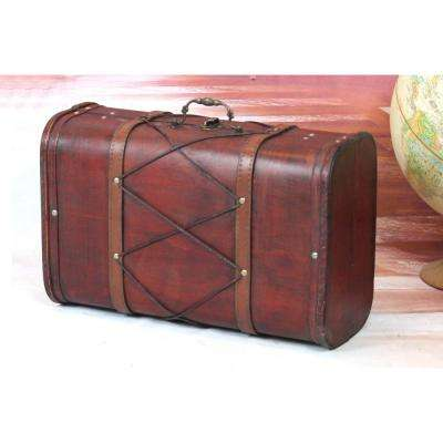 Antique Cherry Wooden Suitcase Trunk with Leather Design