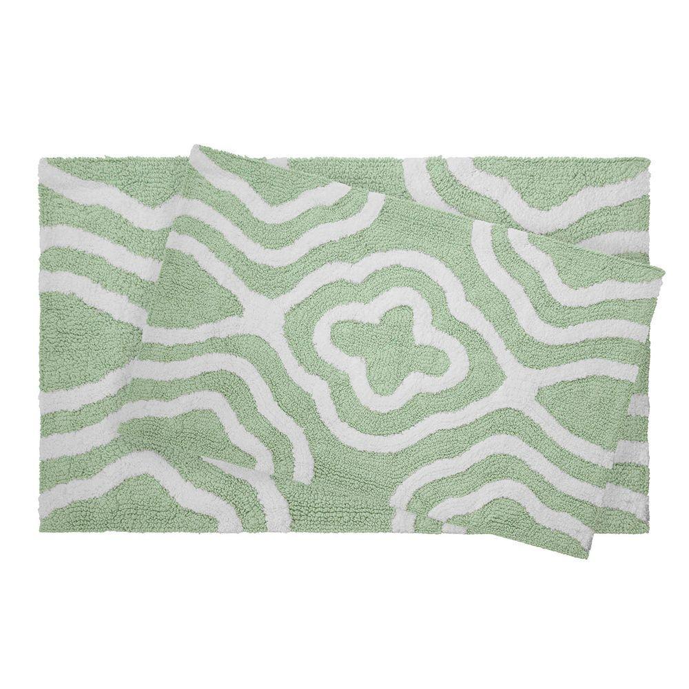 Jean Pierre Reversible Cotton Soft Giri Mint 20 In X 32 2 Piece Bath Mat Set