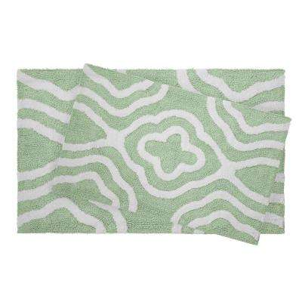 Reversible Cotton Soft Giri Mint 20 in. x 32 in. 2-Piece Bath Mat Set