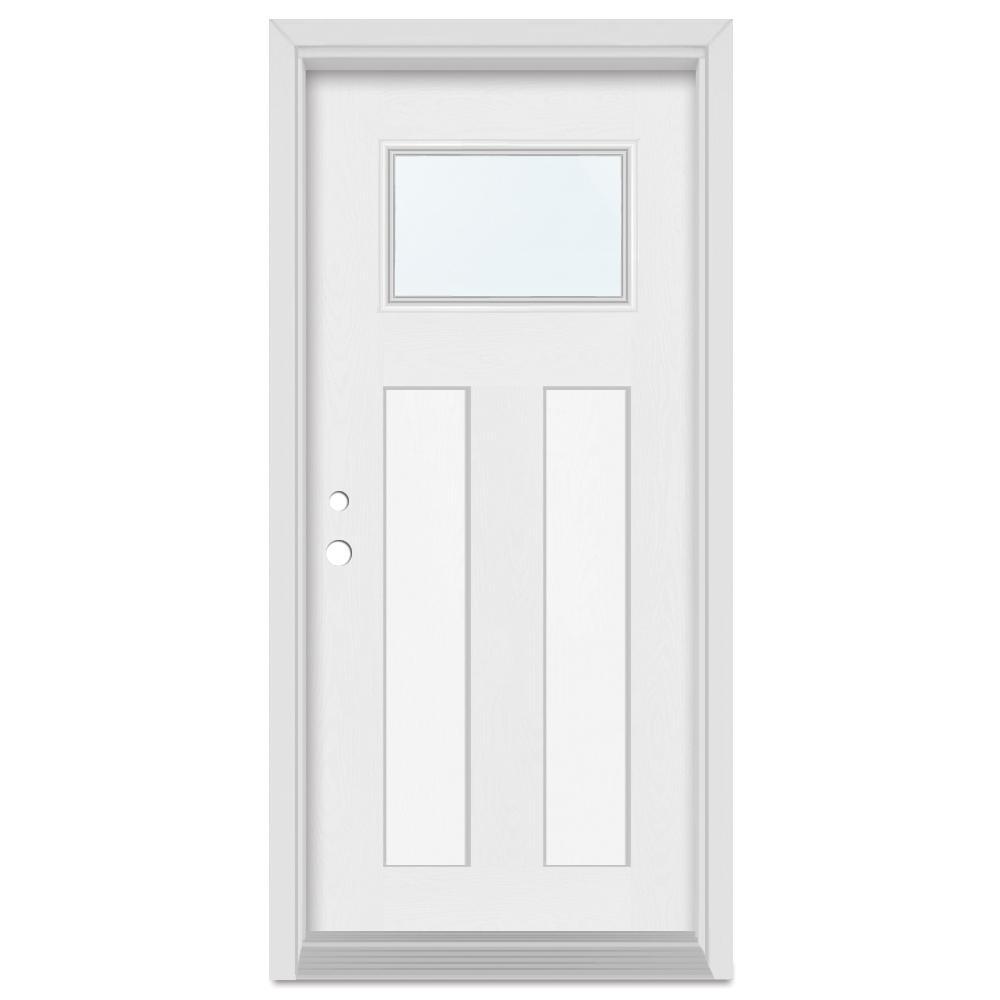 Stanley Doors 36 in. x 80 in. Infinity Right-Hand Craftsman Finished Fiberglass Mahogany Woodgrain Prehung Front Door Brickmould