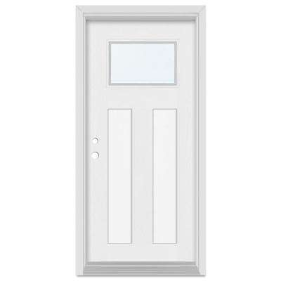 36 in. x 80 in. Infinity Right-Hand Craftsman Finished Fiberglass Mahogany Woodgrain Prehung Front Door Brickmould