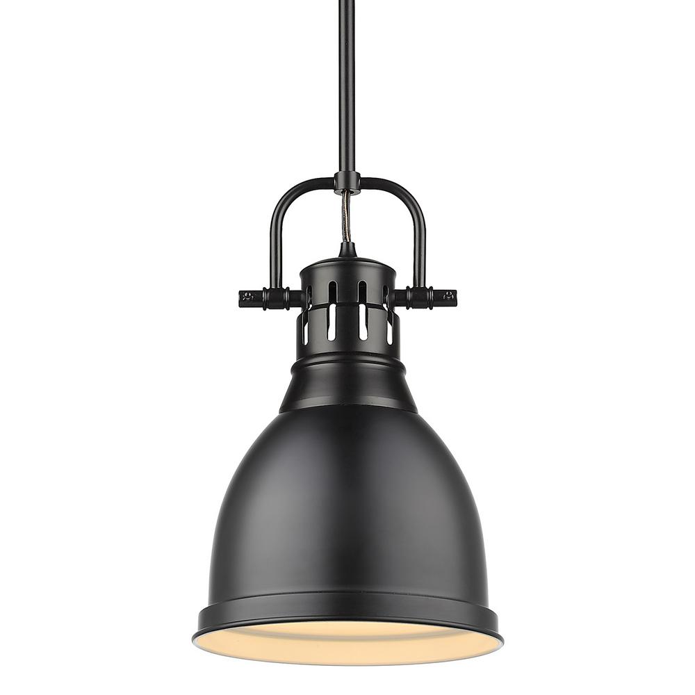 Golden Lighting Duncan 1 Light Black Pendant And Rod With Matte Shade