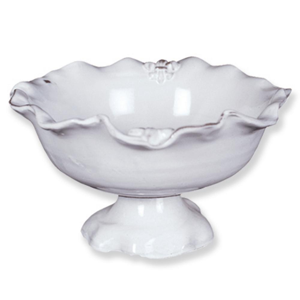 Fleur De Lis 2-Handled Bowl, Glaze This footed ceramic compote adds a nice touch to a table. It is hand-made in Italy and decorated with a Fleur de Lis. It has a touch of casual elegance. Color: Glaze.