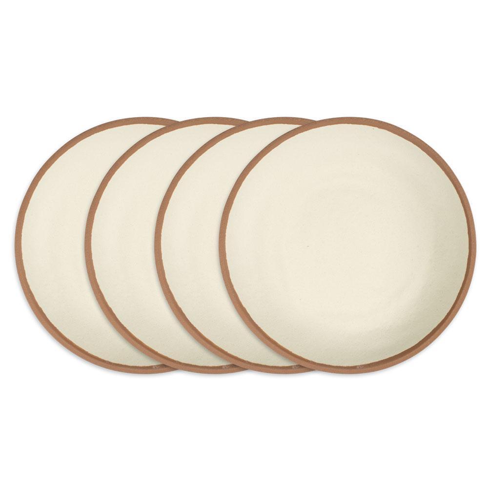 Potter 4-Piece Vintage Terracotta Brown Melamine Outdoor Dinnerware Set (Service for 4)