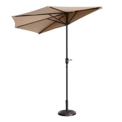 9 ft. Steel Market Half Patio Umbrella in Beige