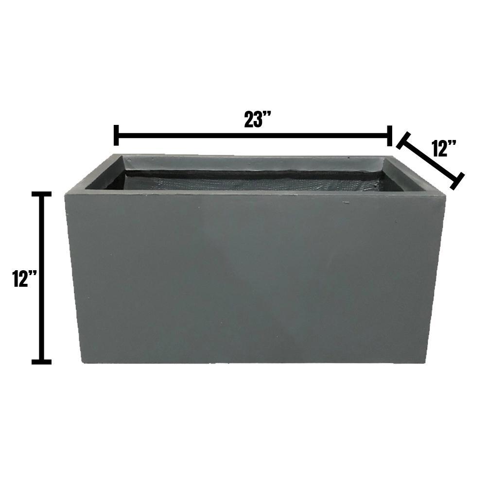DurX-litecrete Small 23.2 in. x 11.8 in. x 12 in. Granite Lightweight Concrete Modern Long Low Planter