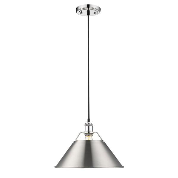 Orwell CH 1-Light Pendant - 14 in. in Chrome with Pewter Shade