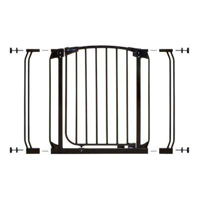 Chelsea 29.5 in. H Standard Height Auto-Close Security Gate in Black with Extensions