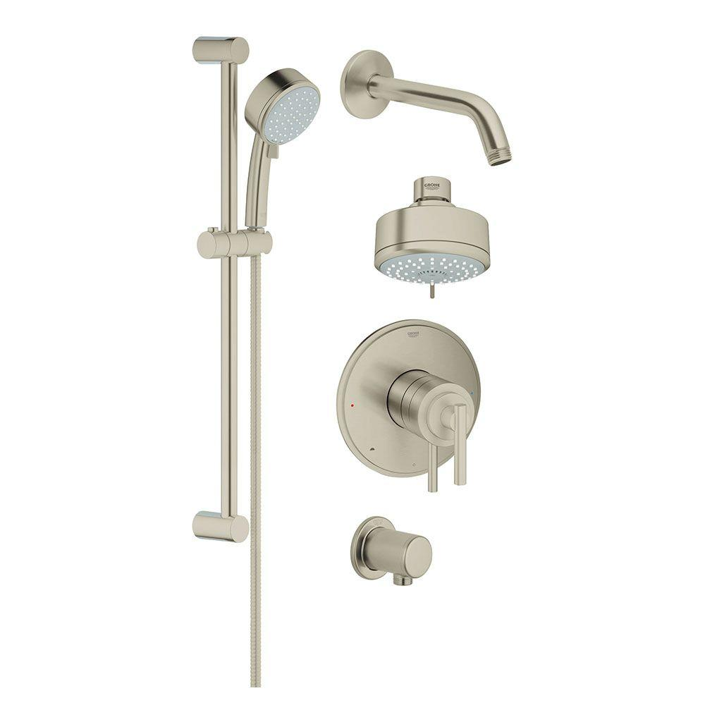 GROHE GROHE GrohFlex Single-Handle Tub and Shower Faucet with Hand Shower in Brushed Nickel InfinityFinish (Valve Included)