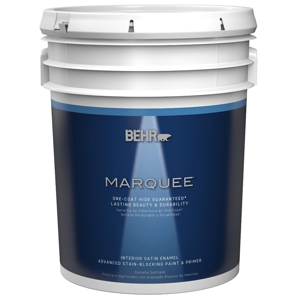 BEHR MARQUEE 5 gal. Ultra Pure White Satin Enamel Interior Paint and Primer in One