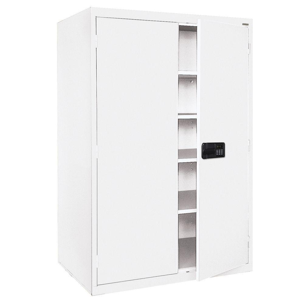 Elite Series 78 in. H x 46 in. W x 24 in. D 5-Shelf Steel Keyless Electronic Handle Storage Cabinet in White