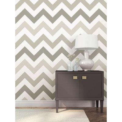 30.75 sq. ft. Taupe Zig Zag Peel and Stick Wallpaper