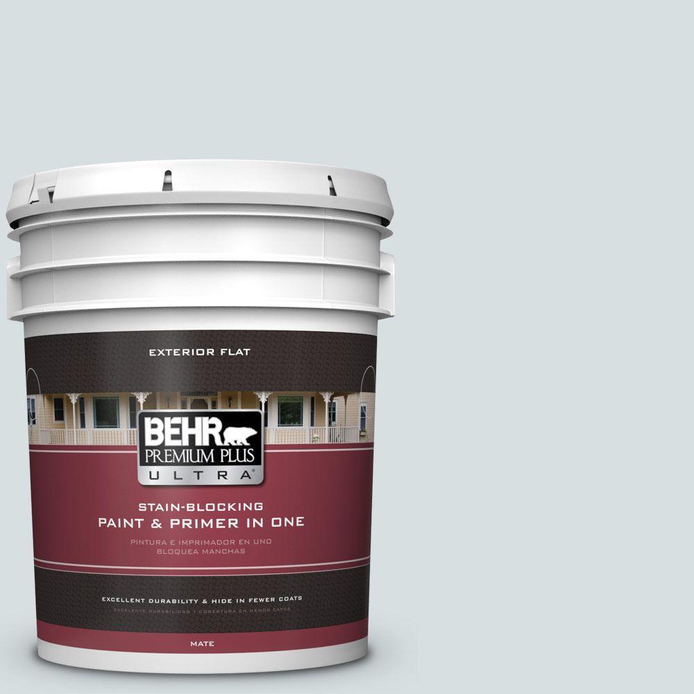 BEHR Premium Plus Ultra 5-gal. #490E-2 Delicate Mist Flat Exterior Paint