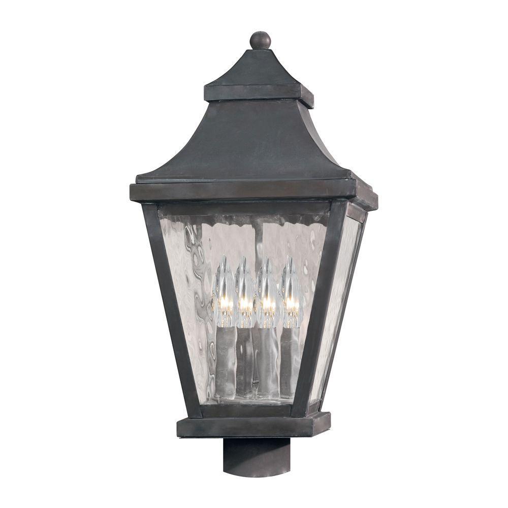 Titan Lighting East Bay Street 4-Light Outdoor Charcoal Post Light