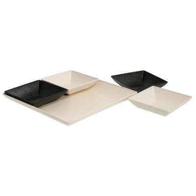 EVO Sustainable Goods White Eco-Friendly Wood-Plastic Composite Serving & Snack Set (Set of 5)