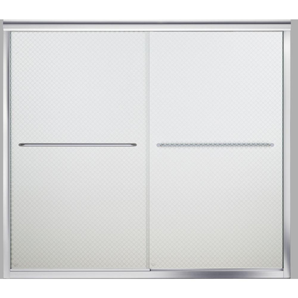STERLING Finesse 59-5/8 in. x 55-3/4 in. Semi-Frameless Sliding Tub Door in Silver with Cirkette Glass Pattern