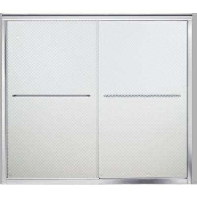 Finesse 59-5/8 in. x 55-3/4 in. Semi-Frameless Sliding Tub Door in Silver with Cirkette Glass Pattern