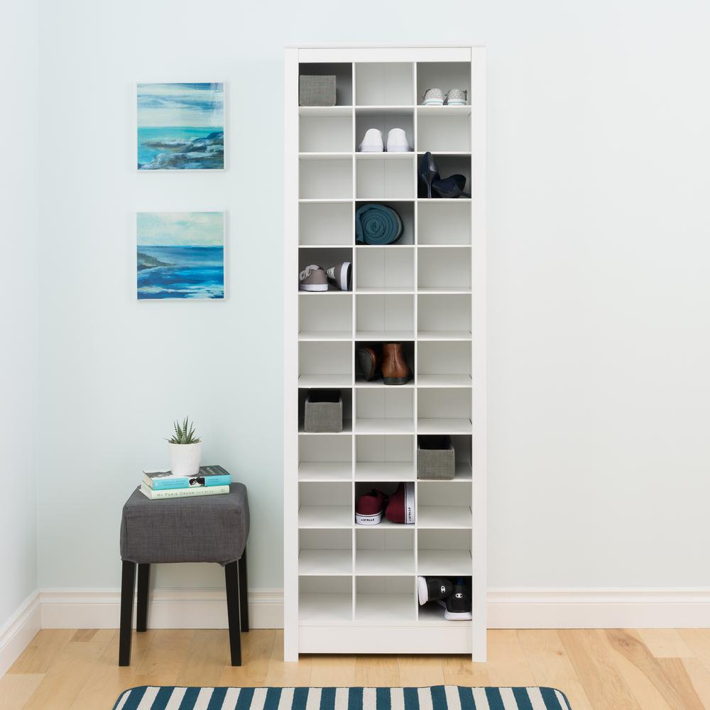 White E Saving Shoe Storage Cabinet