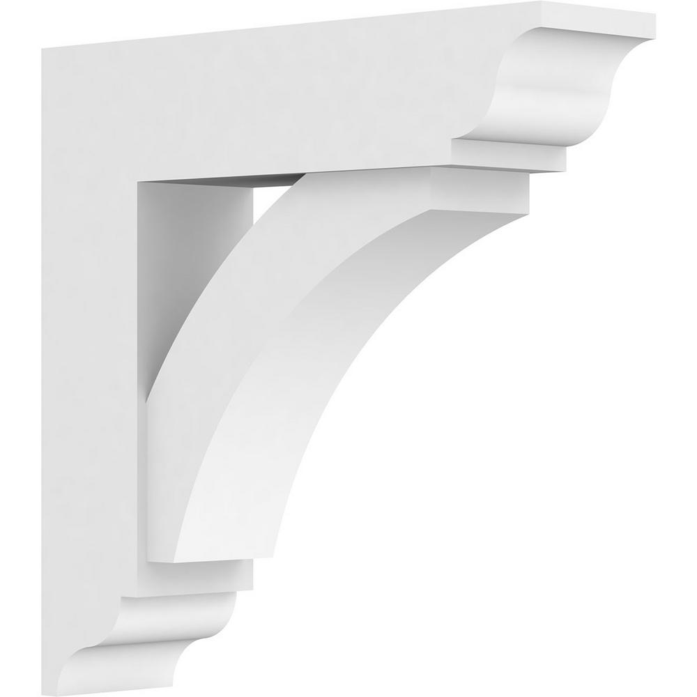 Ekena Millwork 3 In X 14 In X 14 In Thorton Bracket With Traditional Ends Standard Architectural Grade Pvc Bracket Bktp03x14x14thr01 The Home Depot