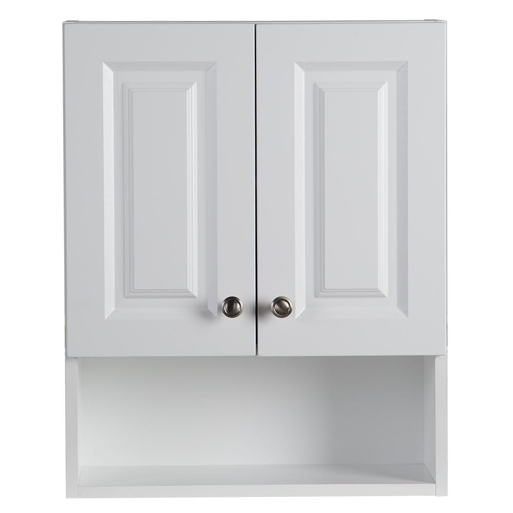 Glacier Bay Lancaster 20 1/2 In. W X 25 3/4 In. H X 7 3/4 In. D Over The  Toilet Storage Wall Cabinet In White LAOJ25COM WH   The Home Depot