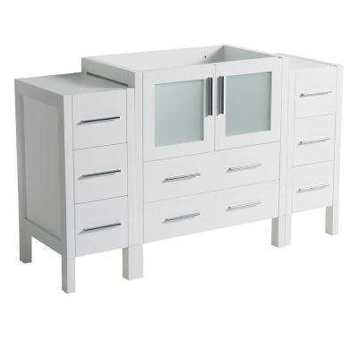 54 in. Torino Modern Bathroom Vanity Cabinet in White
