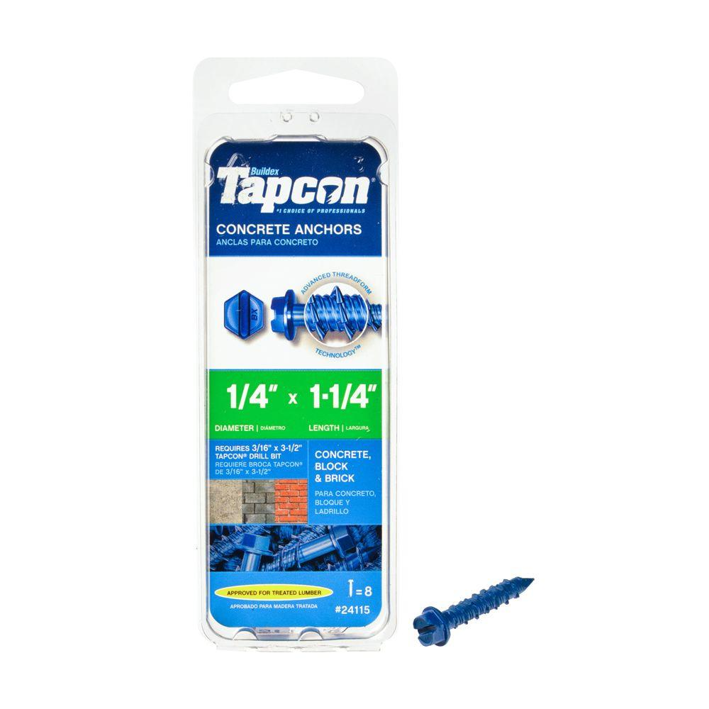 Tapcon 1/4 in. x 1-1/4 in. Hex-Washer-Head Concrete Anchors (8-Pack)