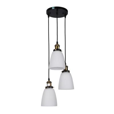 3-Light Patricia Chandelier with White Glass Shade
