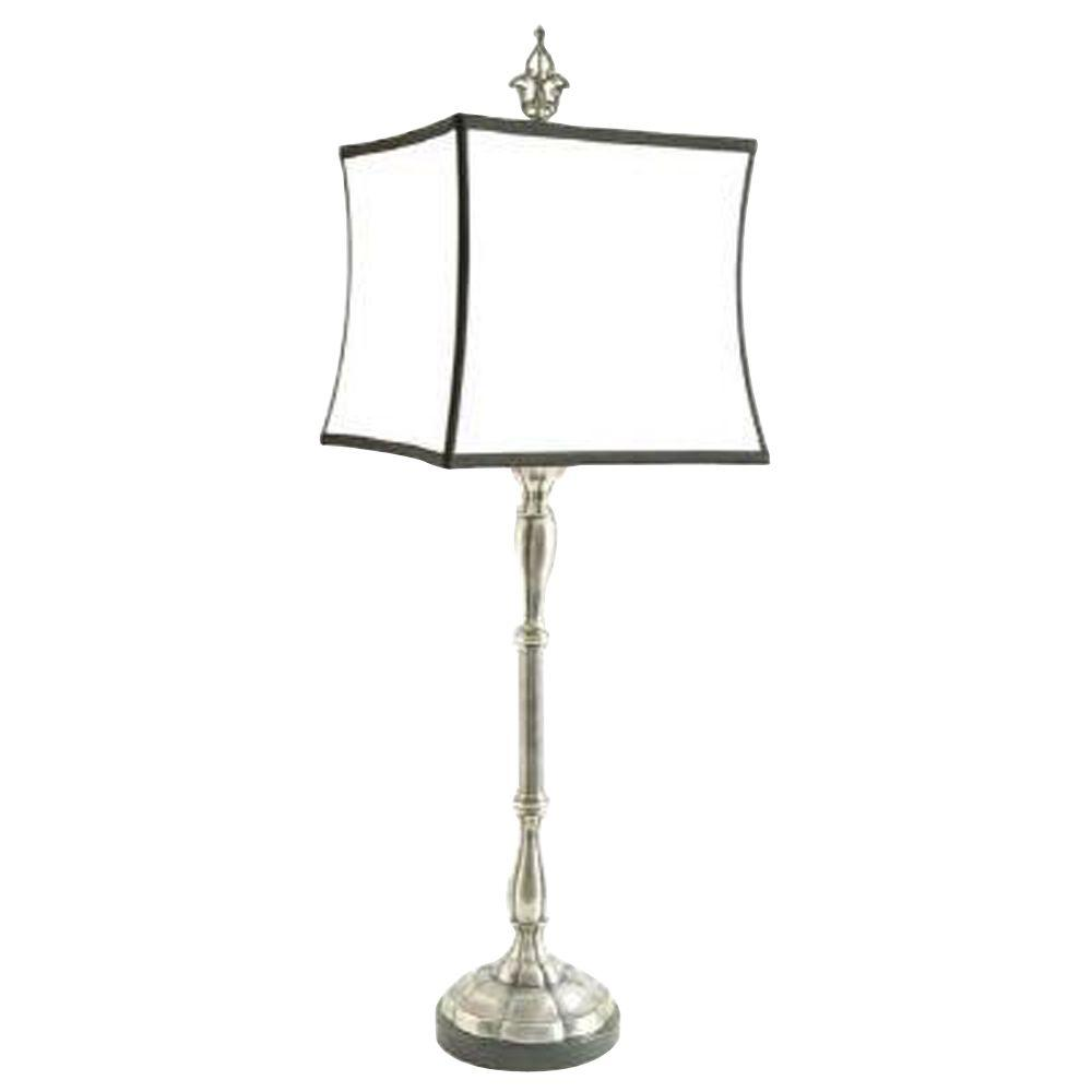 null Antiqued Silver Lotus Buffet Lamp-DISCONTINUED