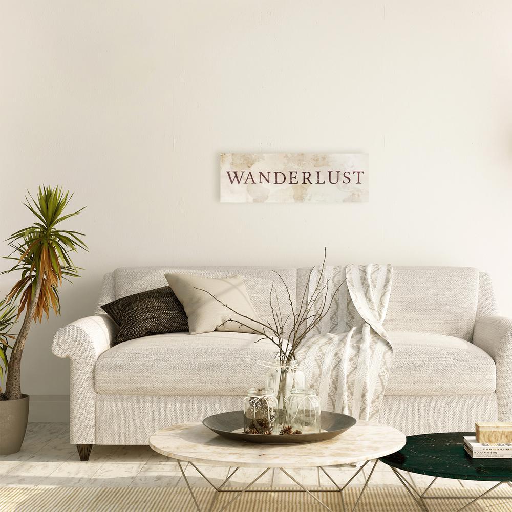 """10 in. x 30 in. """"Wanderlust Map"""" By Wynwood Studio Wood Wall Art"""
