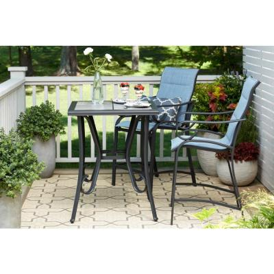 Hampton Bay Crestridge 3-Piece Padded Sling Balcony Height Outdoor Bistro  Set in Conley Denim - Patio Dining Sets - Patio Dining Furniture - The Home Depot