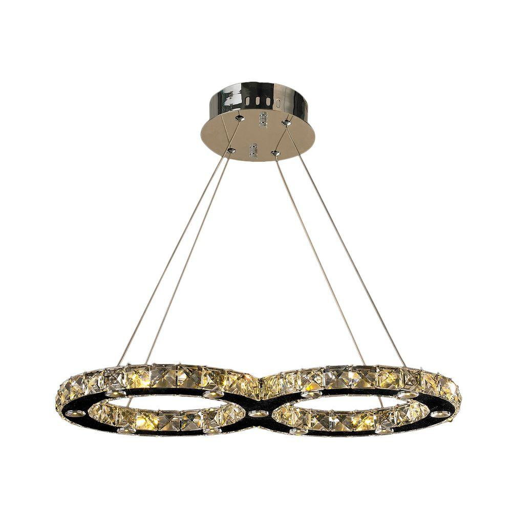 Worldwide Lighting Galaxy Collection 22-Light Polished Chrome Crystal LED Chandelier