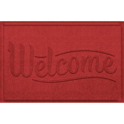 Aqua Shield Simple Welcome 23 in. x 35 in. PET Polyester Doormat Solid Red