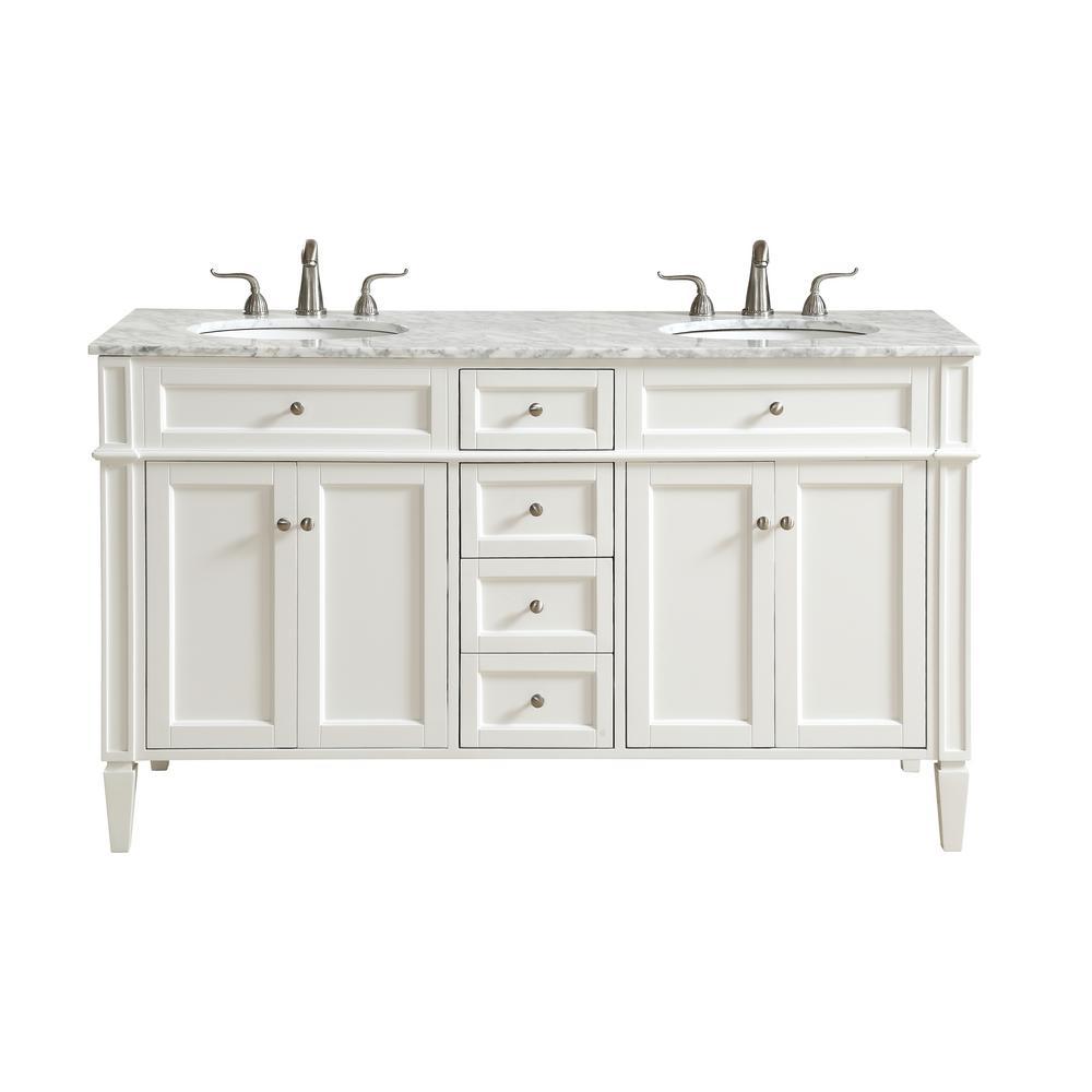 Nanticoke 60 in. Double Bathroom Vanity with 4-Drawers 2-Shelves 4-Doors Marble Top Porcelain Sink in White