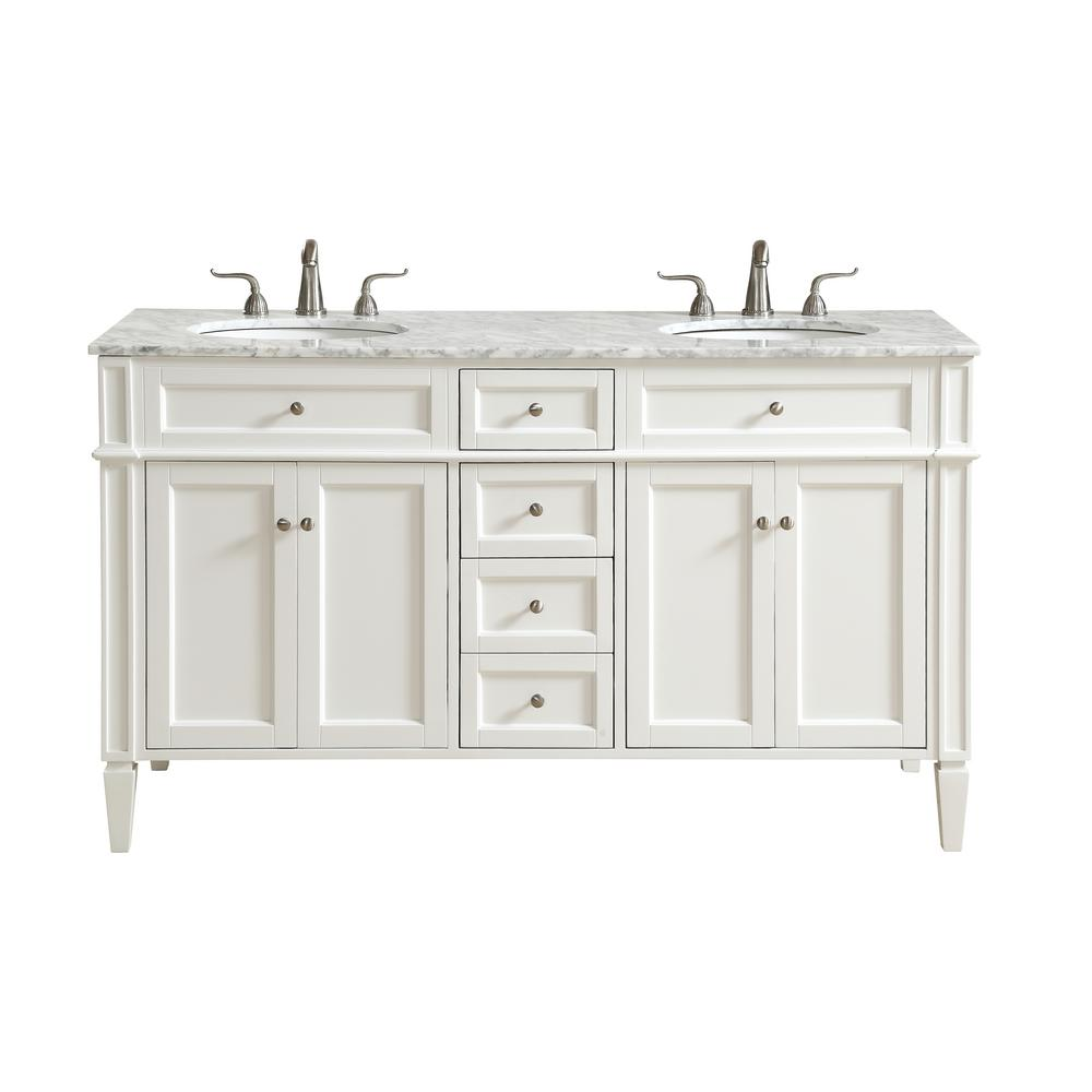 Double bathroom vanity with 4 drawers 2 shelves 4