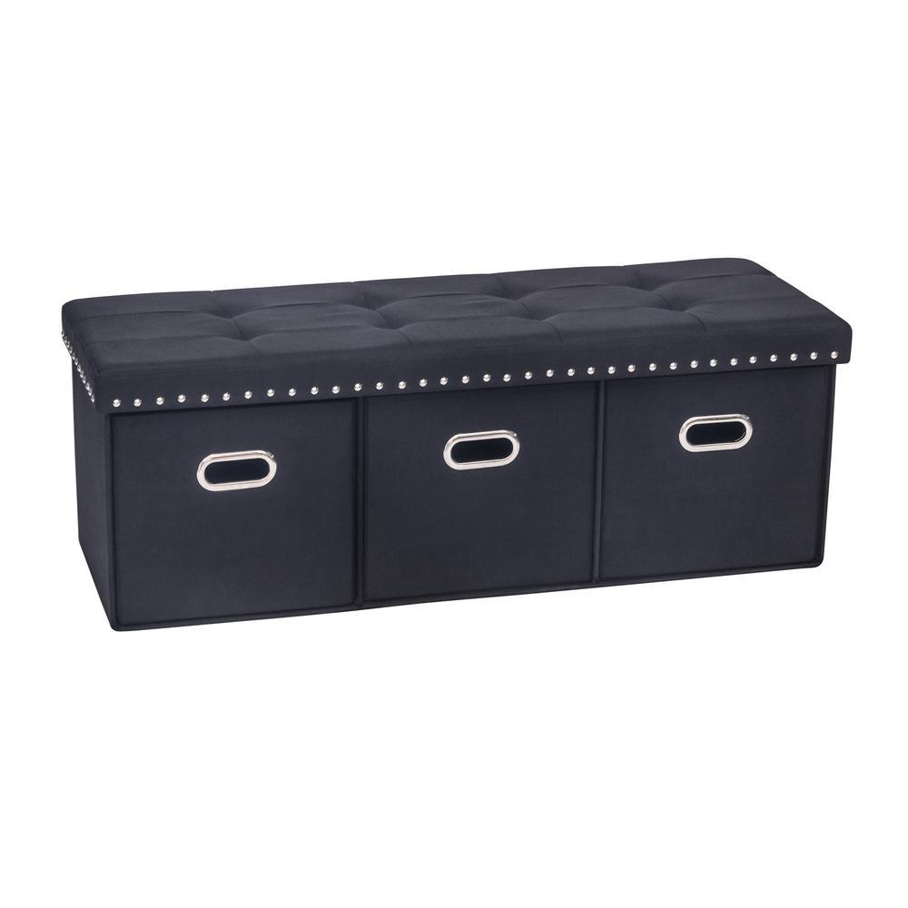 Payton Black Upholstered Foldable Storage Bench Ottoman