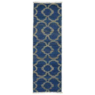 Kenwood Blue 2 ft. x 6 ft. Double Sided Runner Rug