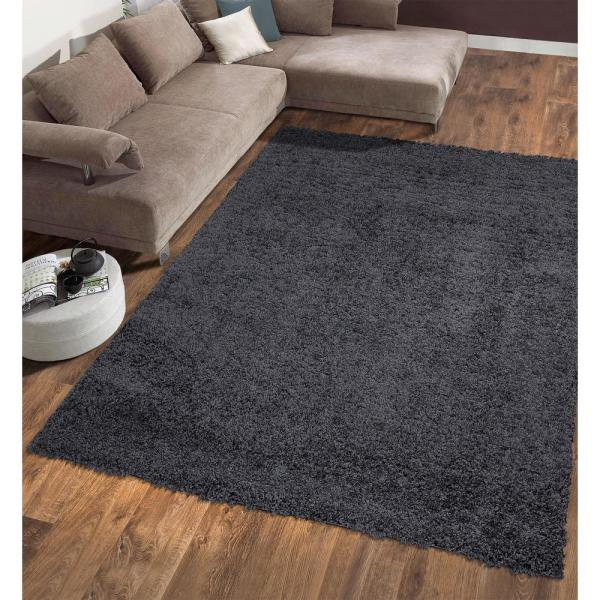Ottomanson Contemporary Solid Dark Grey 5 Ft X 7 Ft Shag Area Rug Shg2764 5x7 The Home Depot
