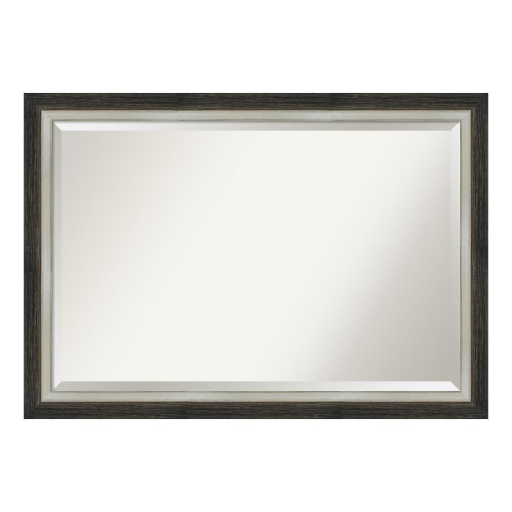 Amanti Art Brushed Metallic Wood Brown Bathroom Vanity Mirror DSW4093072