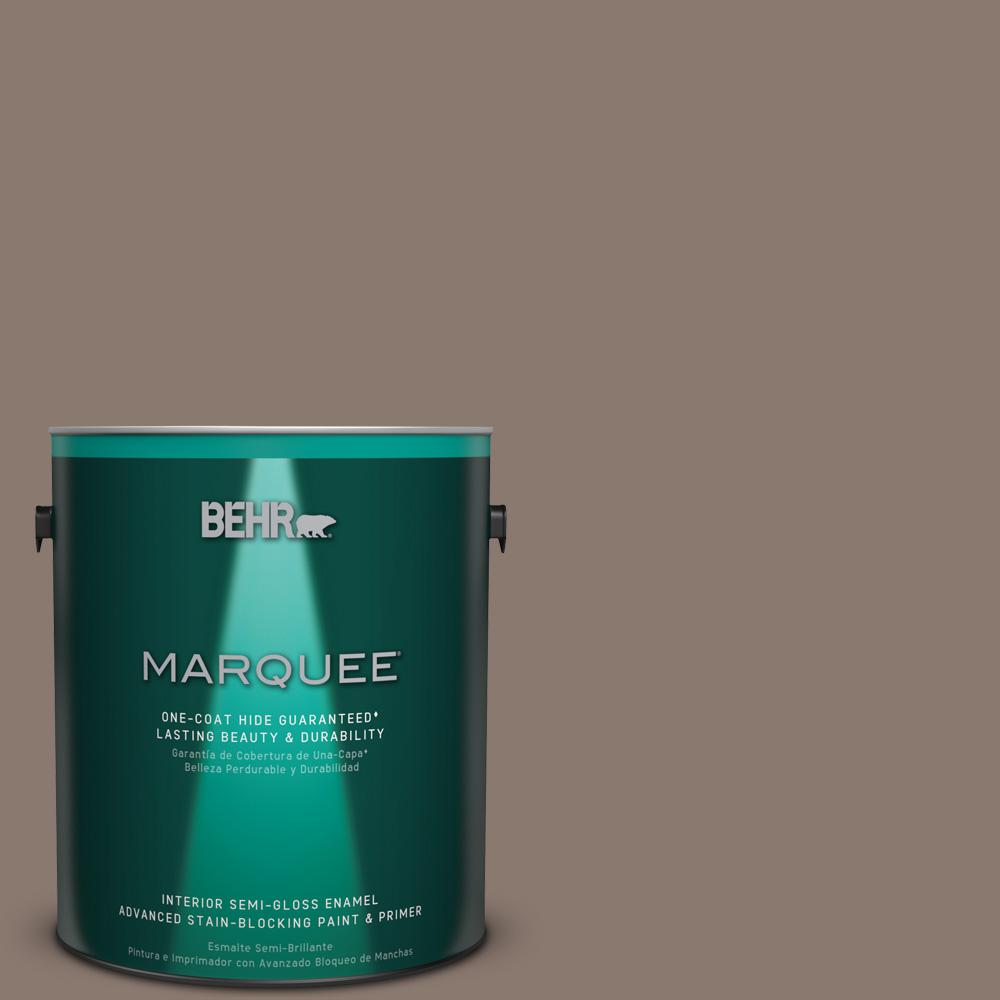 1 gal. #T18-07 Road Less Travelled Semi-Gloss Enamel Interior Paint