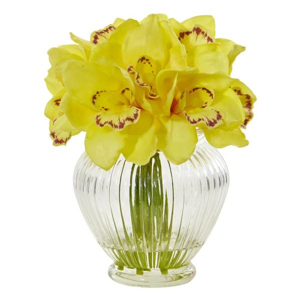 Nearly Natural Indoor Cymbidium Orchid Artificial Arrangement in Glass Vase