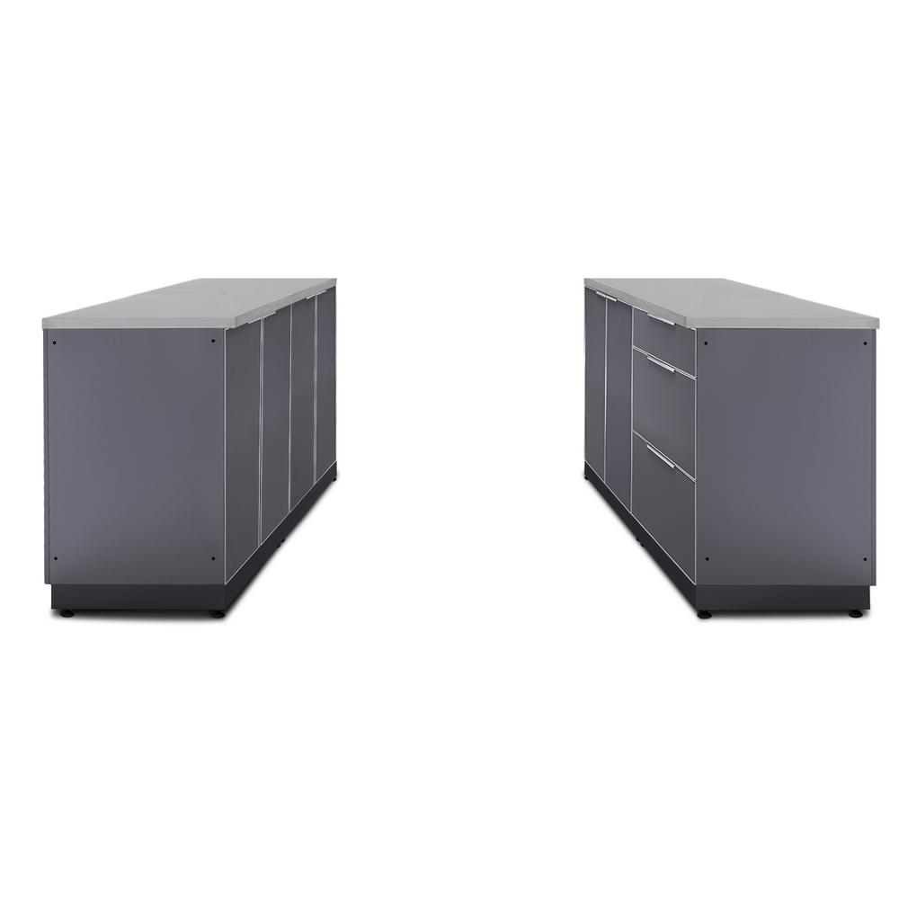NewAge Products Slate Gray 6-Piece 128 in. W x 36.5 in. H x 24 in. D  Outdoor Kitchen Cabinet Set with Countertops