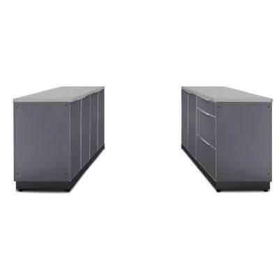 Slate Gray 6-Piece 64 in. W x 36.5 in. H x 24 in. D Outdoor Kitchen Cabinet Set with Countertops