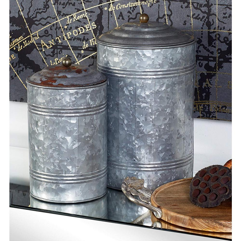 3-Piece Rustic Metal Galvanized Canisters