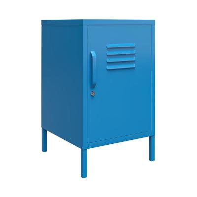 Cache 27.14 in. Blue Metal Locker End Table