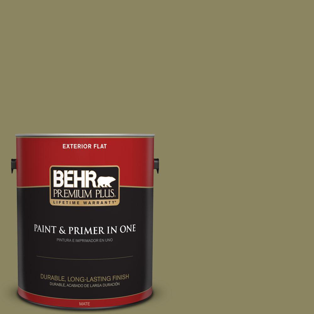 BEHR Premium Plus 1-gal. #S350-5 Green Scene Flat Exterior Paint