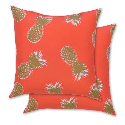 Pineapple Square Outdoor Throw Pillow (2-Pack)