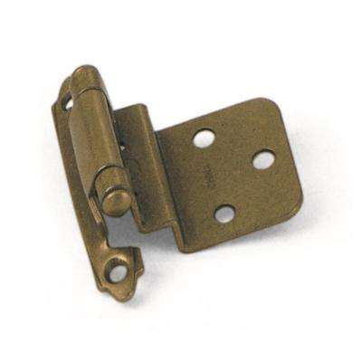 Inset Antique Brass 3/8 in. Self-Closing Hinge (1-Pair)